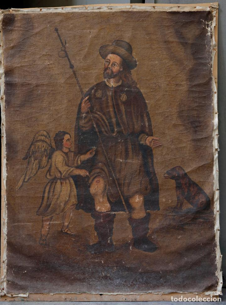 SAN ROQUE, PINTURA AL ÓLEO SOBRE TELA, SIGLO XX. 70X94,5CM (Arte - Arte Religioso - Pintura Religiosa - Oleo)