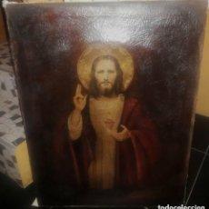 Arte: OLEO SOBRE LIENZO SAGRADO CORAZON DE JESUS . Lote 140895138