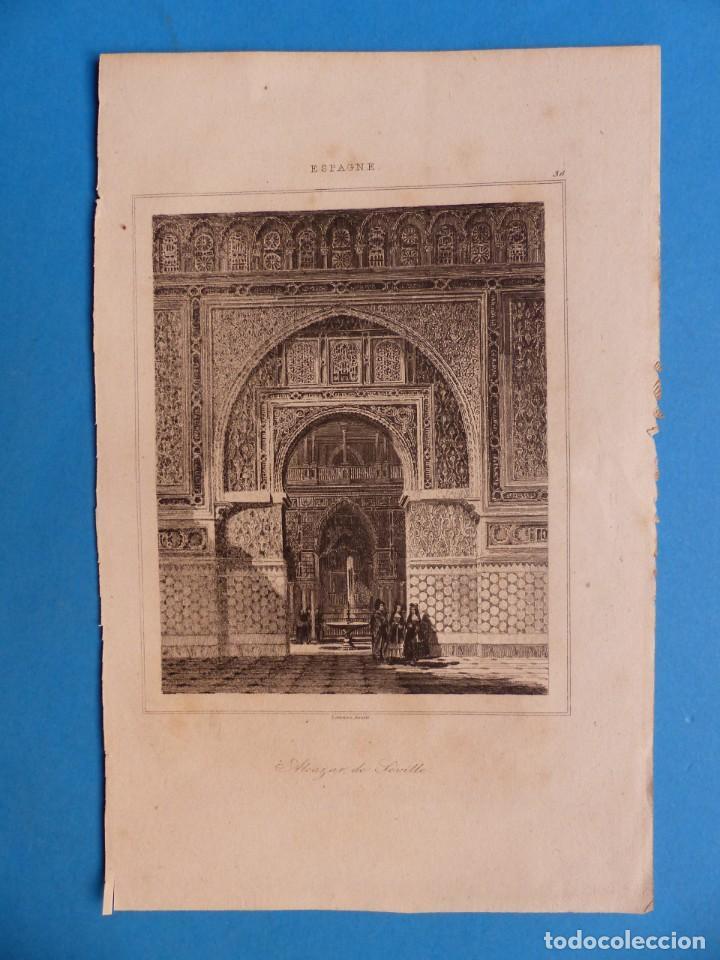 SEVILLA, ALCAZAR - PRECIOSO GRABADO - AÑOS 1860-1890 (Arte - Arte Religioso - Grabados)