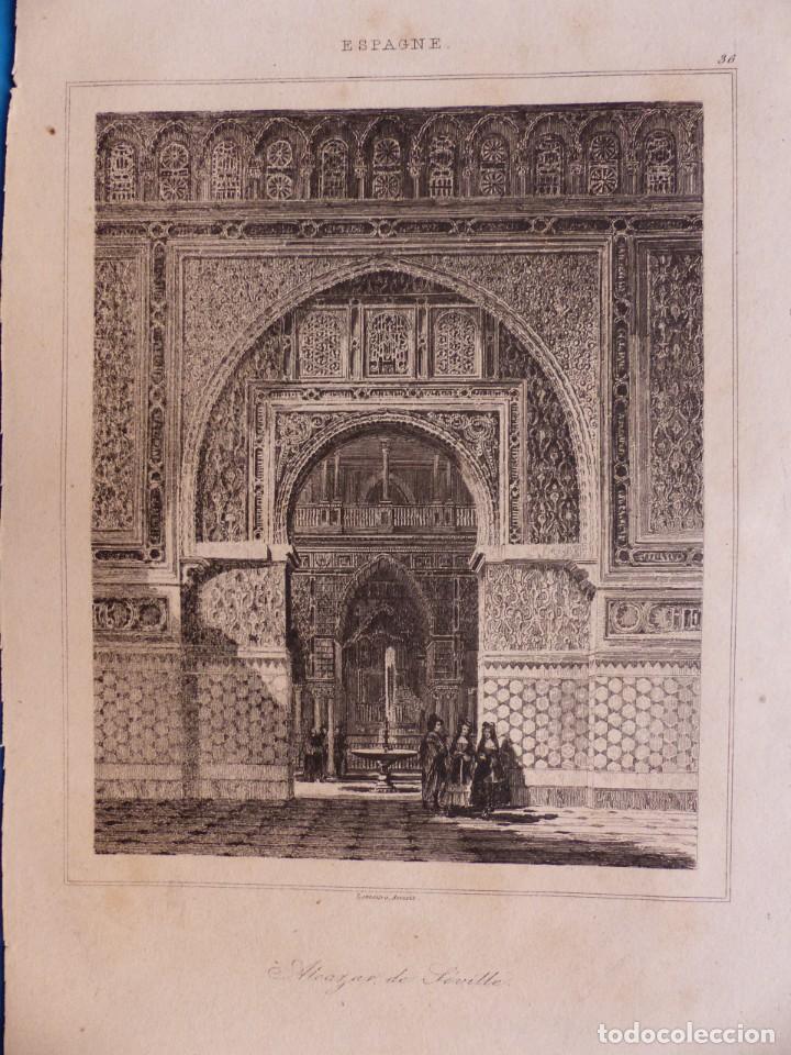 Arte: SEVILLA, ALCAZAR - PRECIOSO GRABADO - AÑOS 1860-1890 - Foto 2 - 140912406