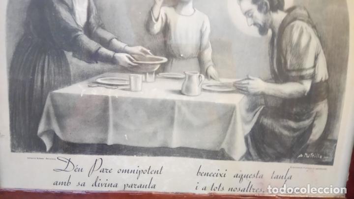 Arte: Antiguo cuadro religioso de lámina de la Sagrada Familia para vendecir la mesa años 10-20 - Foto 4 - 140950618