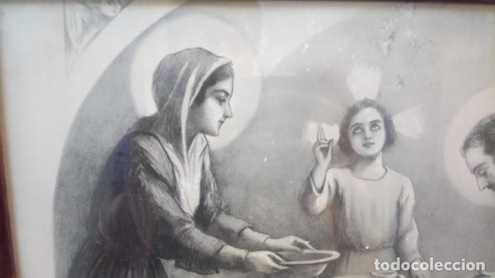 Arte: Antiguo cuadro religioso de lámina de la Sagrada Familia para vendecir la mesa años 10-20 - Foto 5 - 140950618