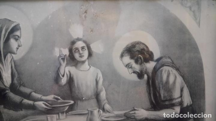 Arte: Antiguo cuadro religioso de lámina de la Sagrada Familia para vendecir la mesa años 10-20 - Foto 6 - 140950618