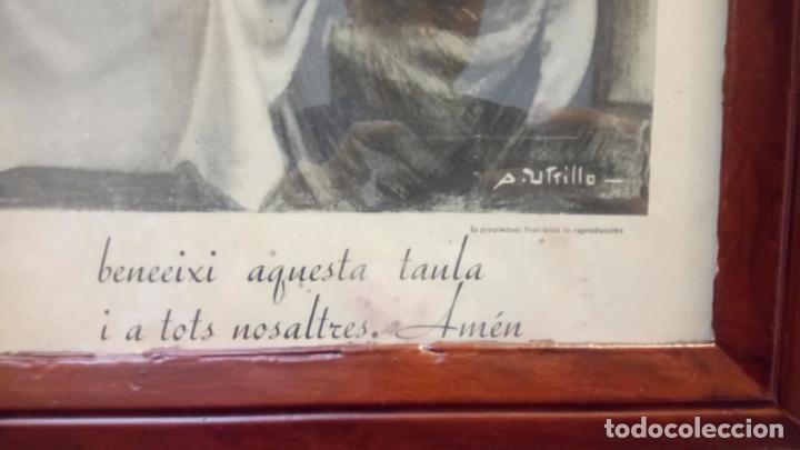 Arte: Antiguo cuadro religioso de lámina de la Sagrada Familia para vendecir la mesa años 10-20 - Foto 7 - 140950618
