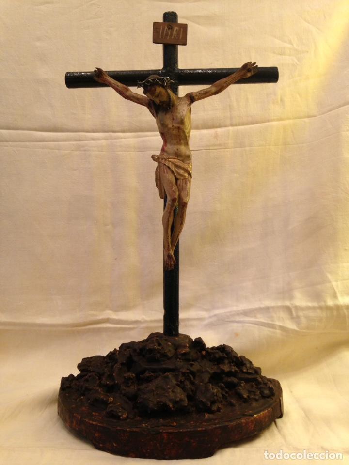CRISTO CRUCIFICADO TALLA MADERA SIGLO XVIII (Arte - Arte Religioso - Escultura)