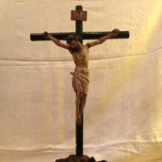 Arte: CRISTO CRUCIFICADO TALLA MADERA SIGLO XVIII. Lote 141177484