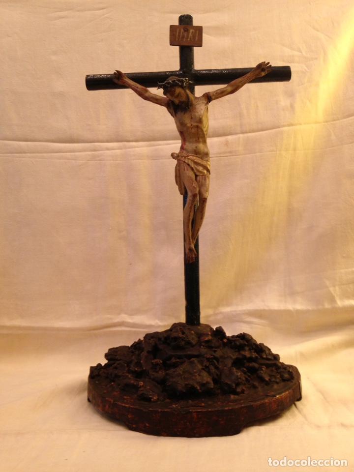 Arte: Cristo crucificado talla madera siglo XVIII - Foto 3 - 141177484