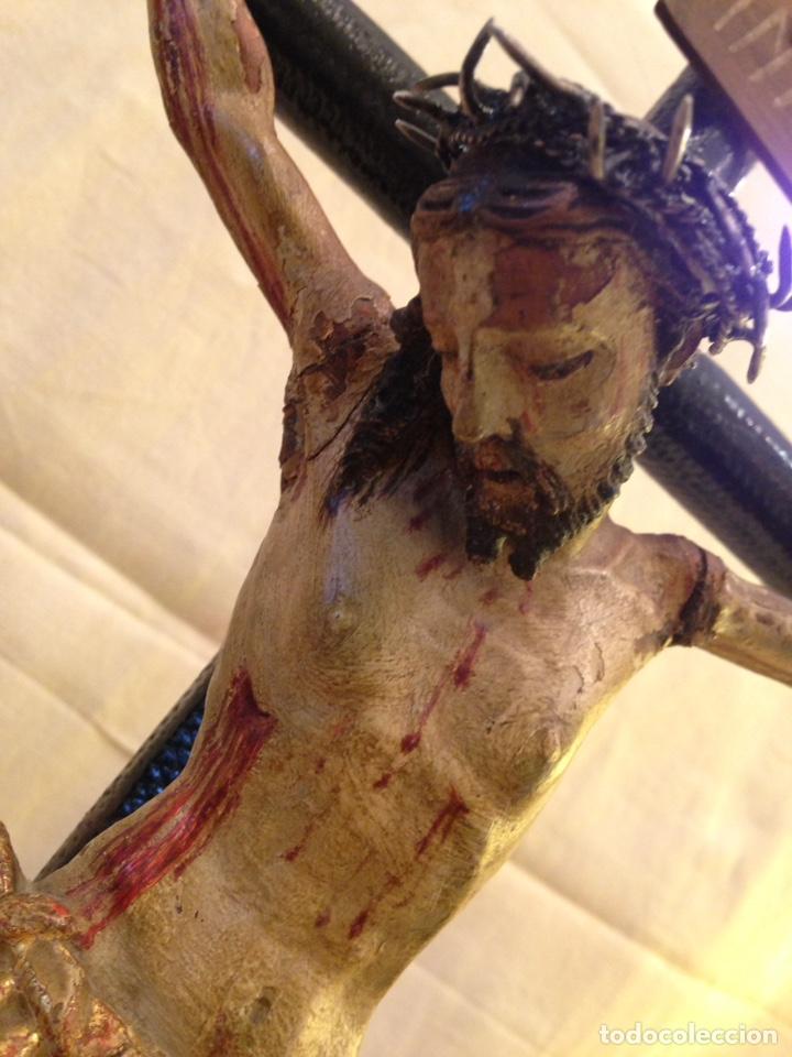 Arte: Cristo crucificado talla madera siglo XVIII - Foto 6 - 141177484
