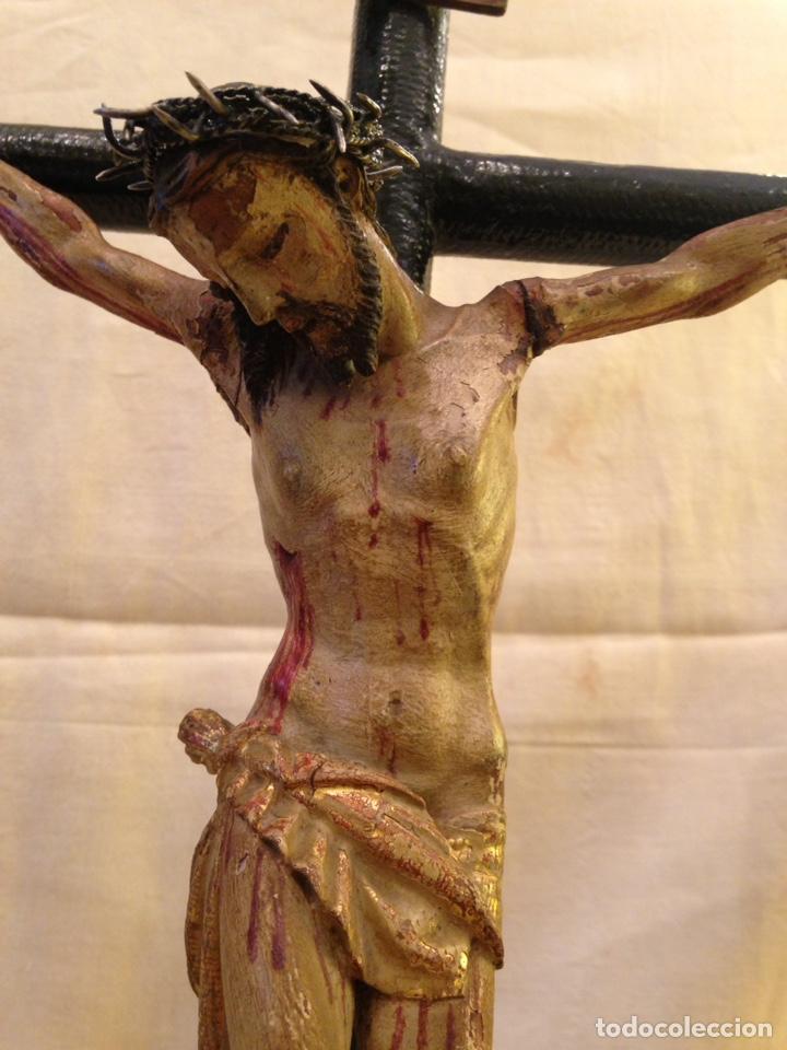 Arte: Cristo crucificado talla madera siglo XVIII - Foto 7 - 141177484