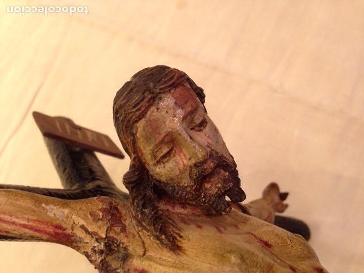 Arte: Cristo crucificado talla madera siglo XVIII - Foto 28 - 141177484