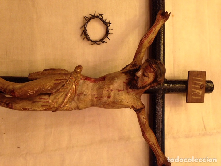 Arte: Cristo crucificado talla madera siglo XVIII - Foto 59 - 141177484