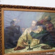 Arte: ANTIGUA LAMINA RELIGIOSA Y MARCO ANTIGUO DORADO. Lote 218568158