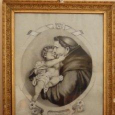 Arte: SAN ANTONIO CON EL NIÑO JESÚS. DIBUJO A LÁPIZ Y CARBONCILLO SOBRE PAPEL. 62 X 47 CM. PPS. S. XX.. Lote 141253998