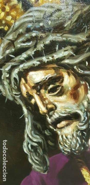 Arte: 1118- ANTIGUO OLEO SOBRE TELA CRISTO NAZARENO,BUENA PIEZA FIRMADO J.RODRIGUEZ 83X63 67X47 - Foto 2 - 141315598