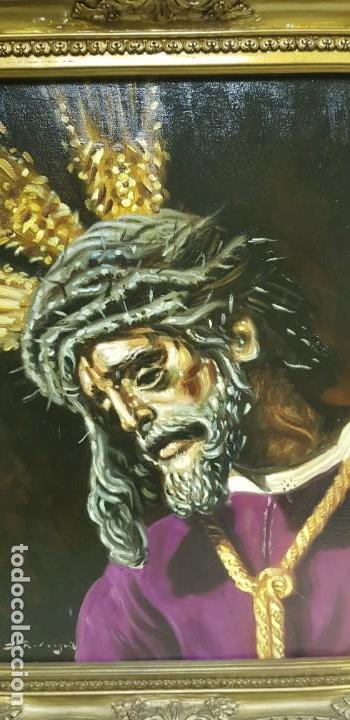 Arte: 1118- ANTIGUO OLEO SOBRE TELA CRISTO NAZARENO,BUENA PIEZA FIRMADO J.RODRIGUEZ 83X63 67X47 - Foto 6 - 141315598