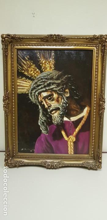 1118- ANTIGUO OLEO SOBRE TELA JESUS GRAN PODER SEVILLA ,BUENA PIEZA FIRMADO J.RODRIGUEZ 83X63 67X47 (Arte - Arte Religioso - Pintura Religiosa - Oleo)
