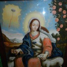 Arte: (M) CUADRO VIRGEN CRISTAL PINTADO FINAL S.XVIII PRIN. S.XIX GRAN TAMAÑO 79 X 57 CON MARCO 89 X 67 CM. Lote 141647710