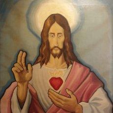 Arte: SAGRADO CORAZÓN DE JESÚS - SIGLO XX - FIRMA DE ALBERTO - PINTURA - ÓLEO SOBRE TABLA DE 113 X 83 CM.. Lote 141747758