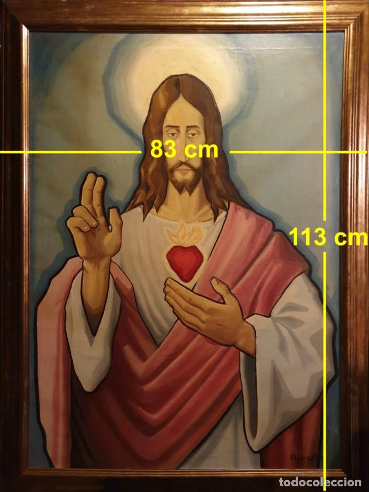 Arte: Sagrado corazón de Jesús - siglo XX - firma de Alberto - PINTURA - óleo sobre tabla de 113 x 83 cm. - Foto 2 - 141747758