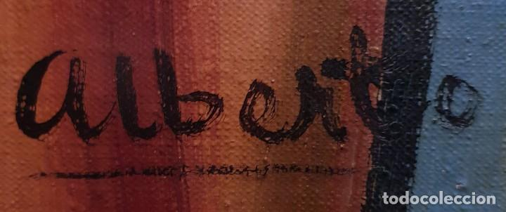 Arte: Sagrado corazón de Jesús - siglo XX - firma de Alberto - PINTURA - óleo sobre tabla de 113 x 83 cm. - Foto 4 - 141747758