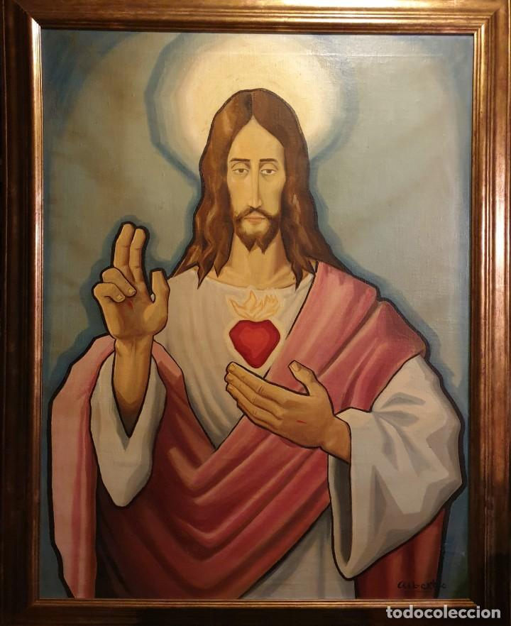 Arte: Sagrado corazón de Jesús - siglo XX - firma de Alberto - PINTURA - óleo sobre tabla de 113 x 83 cm. - Foto 5 - 141747758