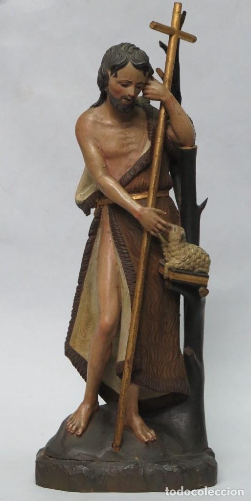 PRECIOSO SAN JUANITO DE MADERA TALLADA Y POLICROMADA. OJOS VIDRIO. SIGLO XVIII-XIX (Arte - Arte Religioso - Escultura)