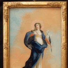 Arte: INMACULADA CONCEPCIÓN. ÓLEO BAJO CRISTAL 33 X24 CM. SIGLOS XVIII_XIX. . Lote 141960442