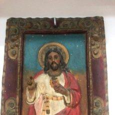 Arte: ANTIGUO PLAFON DEL CORAZÓN DE JESÚS REALIZADO A MANO EN TERRACOTA CON MEDIDAS 26X20 CM - RELIGIOSO. Lote 142097946