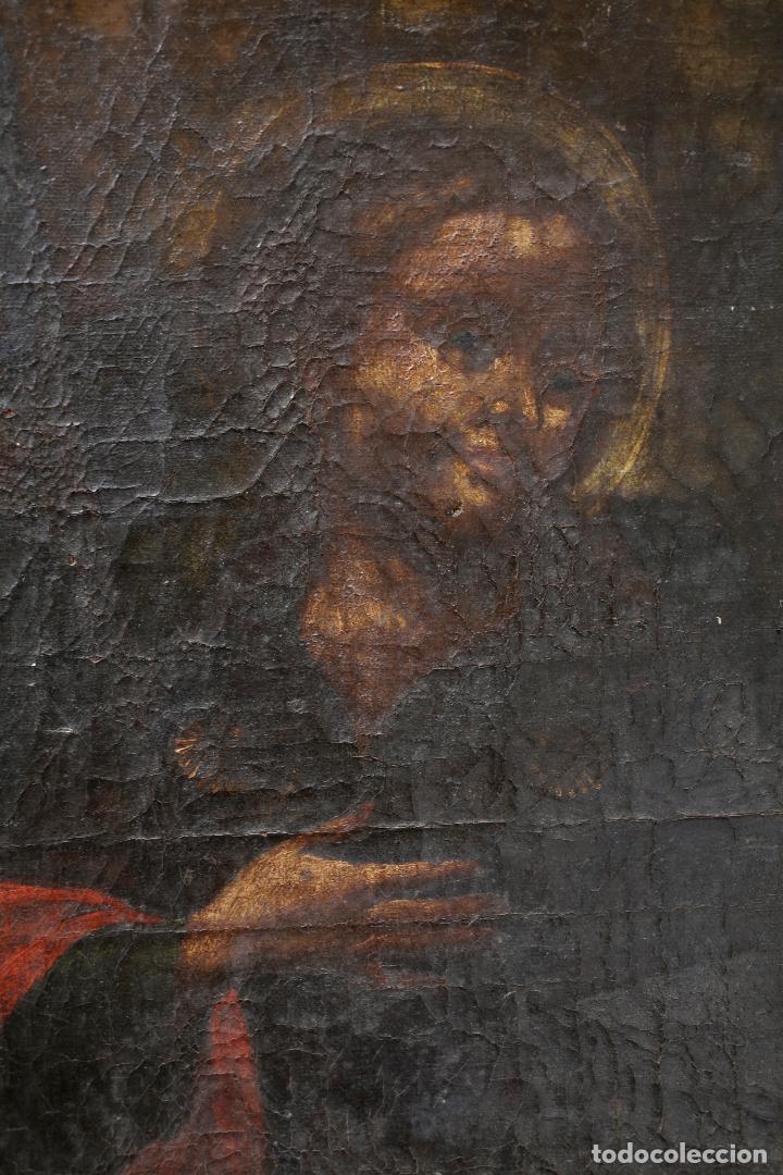 Arte: Escena religiosa, pintura al óleo sobre tela, sin marco, siglo XVIII. 75x54cm - Foto 2 - 142145770