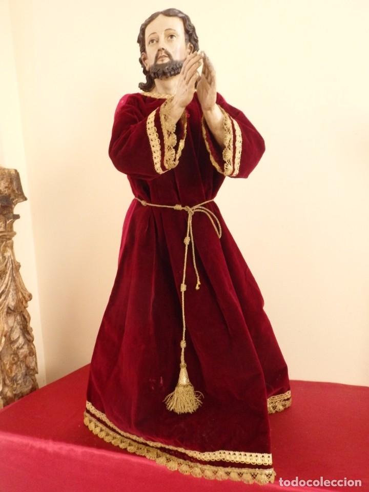 Arte: Oración de Jesús en el Huerto de los Olivos. Imagen vestidera o cap i pota. Madera. 86 cm. S. XVIII. - Foto 21 - 142209234