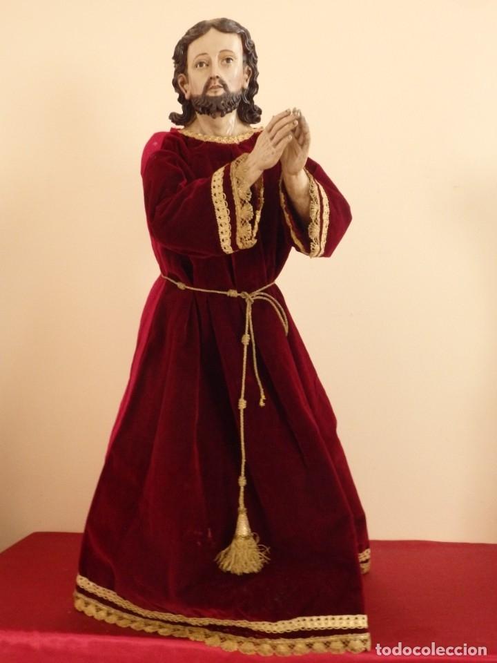 Arte: Oración de Jesús en el Huerto de los Olivos. Imagen vestidera o cap i pota. Madera. 86 cm. S. XVIII. - Foto 2 - 142209234