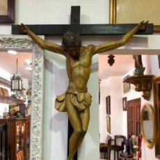 Arte: MAGNIFICO CRISTO CRUCIFICADO GENOVES TALLA MADERA SIGLO XVIII - MEDIDA SOLO CRISTO 80X75 CM. Lote 142273886