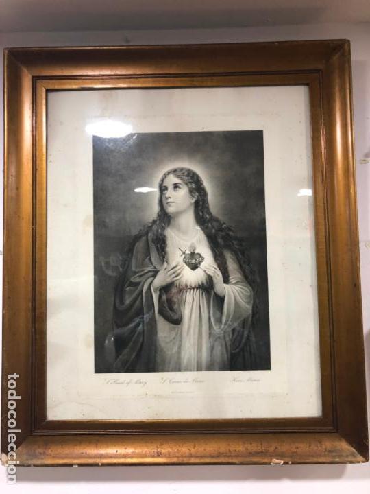 ANTIGUA LITOGRAFIA VIRGEN DEL SAGRADO CORAZON - MEDIDA MARCO 83X75 CM (Arte - Arte Religioso - Litografías)