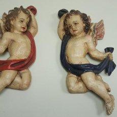Arte: J4- PAREJA ANGELES MADERA POLICROMADA SIGLO XVIII-XIX MUY BUEN ESTADO 41 CMS. Lote 142333354