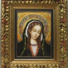 Arte: VÏRGEN ROMÁNICA-GÓTICA - JUAN MANUEL AYALA - OLEO SOBRE TABLA - 76X65 CM. Lote 142425429