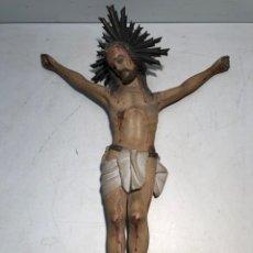 Arte: CRISTO DE TALLA DE MADERA ANTIGUO. SIGLO XIX.. Lote 142575326