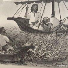 Arte: JESUS A ORILLAS DEL LAGO, ORIGINAL DE PIERRE MONNERAT (LAUSANA 1917-BARCELONA 2005). Lote 142583346