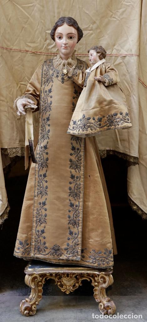 EXTRAORDINARIA VIRGEN DEL CARMEN CON NIÑO FINALES SIGLO XVIII DE GRAN TAMAÑO. (Arte - Arte Religioso - Escultura)