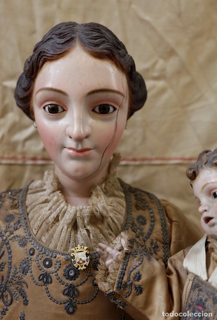Arte: Extraordinaria virgen del carmen con niño finales siglo XVIII de gran tamaño. - Foto 7 - 112504187