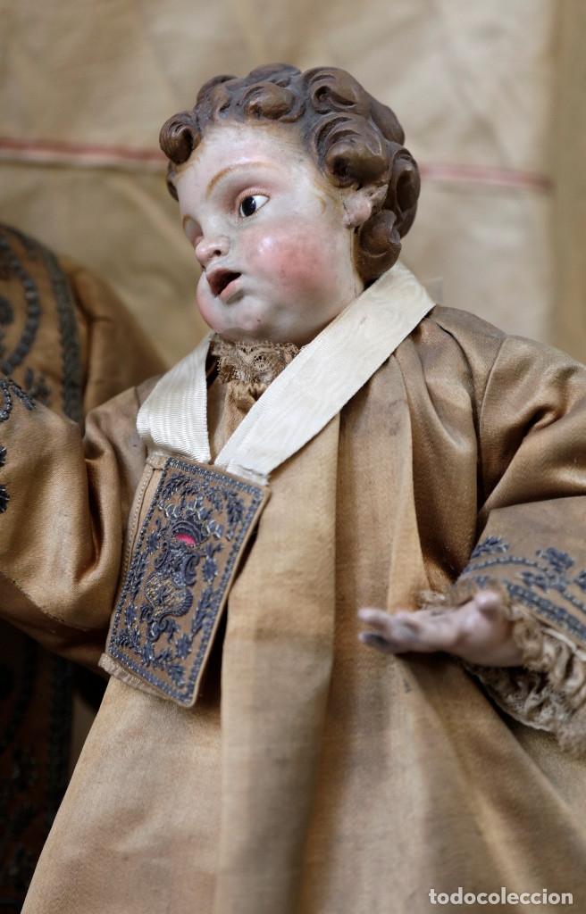Arte: Extraordinaria virgen del carmen con niño finales siglo XVIII de gran tamaño. - Foto 8 - 112504187