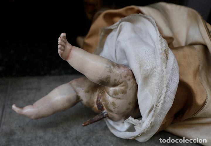 Arte: Extraordinaria virgen del carmen con niño finales siglo XVIII de gran tamaño. - Foto 9 - 112504187
