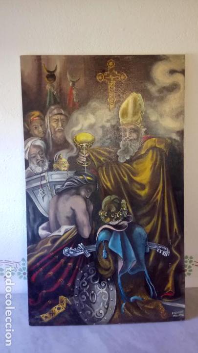 CUADRO AL OLEO DE ESCENA RELIGIOSA CATOLICA Y MUSULMANA. E.ESTABLES 1946-1996 (Arte - Arte Religioso - Pintura Religiosa - Oleo)