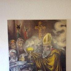 Arte: CUADRO AL OLEO DE ESCENA RELIGIOSA CATOLICA Y MUSULMANA. E.ESTABLES 1946-1996. Lote 142763370