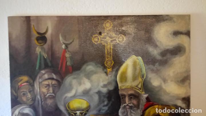 Arte: Cuadro al oleo de escena religiosa catolica y musulmana. e.estables 1946-1996 - Foto 2 - 142763370