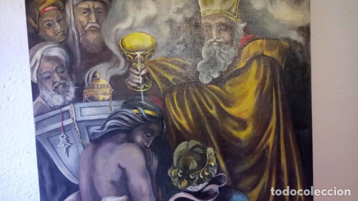 Arte: Cuadro al oleo de escena religiosa catolica y musulmana. e.estables 1946-1996 - Foto 3 - 142763370