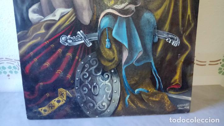Arte: Cuadro al oleo de escena religiosa catolica y musulmana. e.estables 1946-1996 - Foto 4 - 142763370