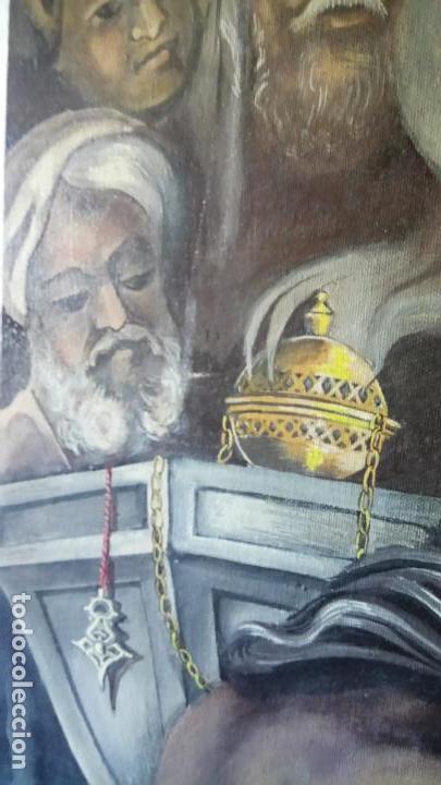 Arte: Cuadro al oleo de escena religiosa catolica y musulmana. e.estables 1946-1996 - Foto 6 - 142763370