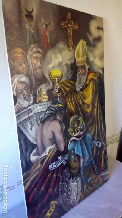 Arte: Cuadro al oleo de escena religiosa catolica y musulmana. e.estables 1946-1996 - Foto 8 - 142763370