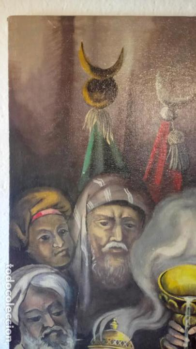 Arte: Cuadro al oleo de escena religiosa catolica y musulmana. e.estables 1946-1996 - Foto 14 - 142763370