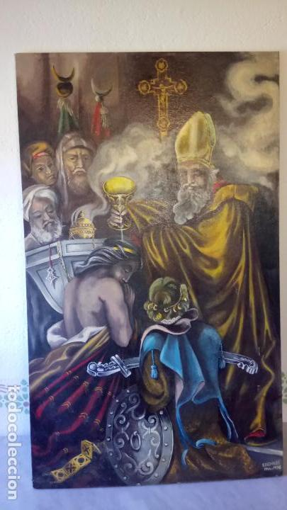 Arte: Cuadro al oleo de escena religiosa catolica y musulmana. e.estables 1946-1996 - Foto 15 - 142763370